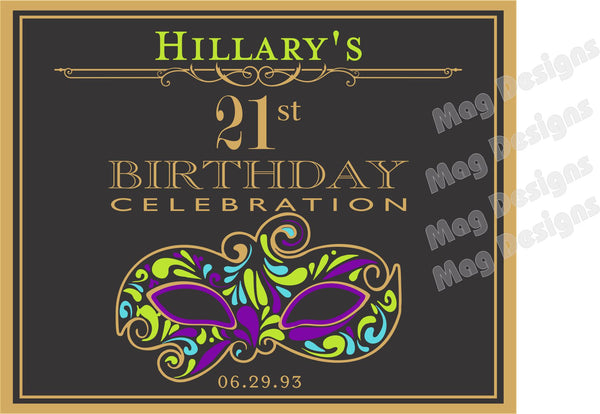 Mardi Gras Birthday Bottle Label - Customizable