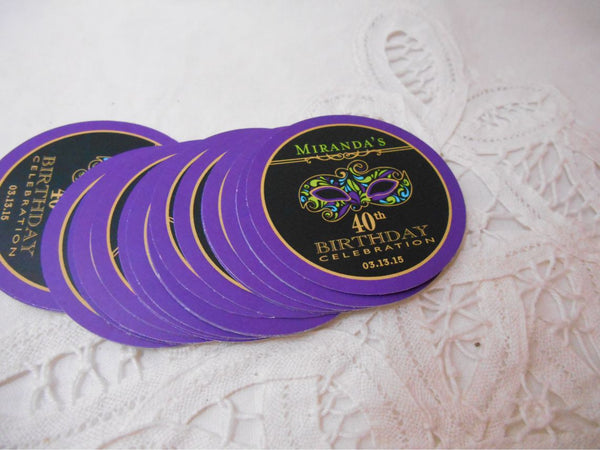 Mardi Gras Sticker - Masquerade Mask Favor sticker - 2 inch Happy Birthday - Customizable to Your Year - Birthday or Anniversary Favor Sticker - 50 Stickers