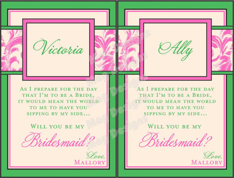 Bridesmaid Wine Labels - Wedding Wine Labels for Bridesmaid and Maid of Honor - Thank You Wedding Party favor gifts for Weddings and Bridal Showers