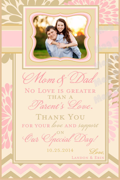 Thank You Wine Label for Mom & Dad - Modern Flower Collection - Customized - Modern Flower Collection - Customized