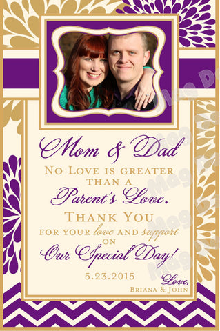 Thank You Wine Label for Mom & Dad - Modern Flower Collection - Parents Thank You - Customized - Modern Flower Collection - Customized