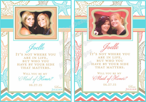 Bridesmaid Wine Labels - Custom Maid of Honor Labels for Wine Bottles - Wedding Party Gifts - Starfish Collection - Customized - I Do Artsy Weddings