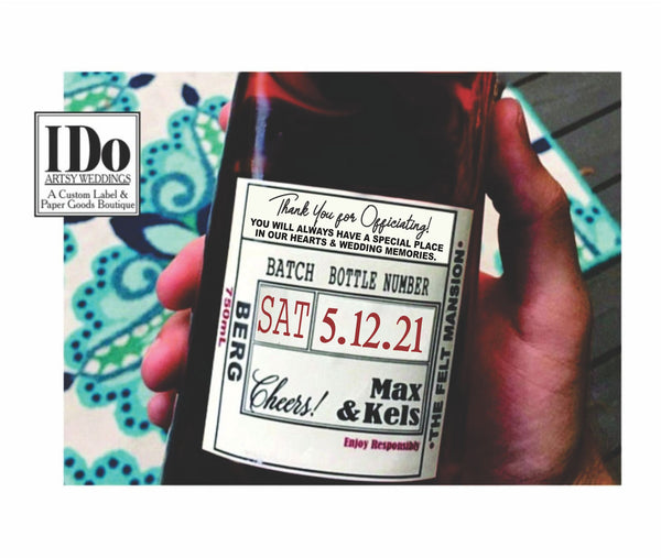 Officiant Thank You Liquor Label - I Do Artsy Weddings