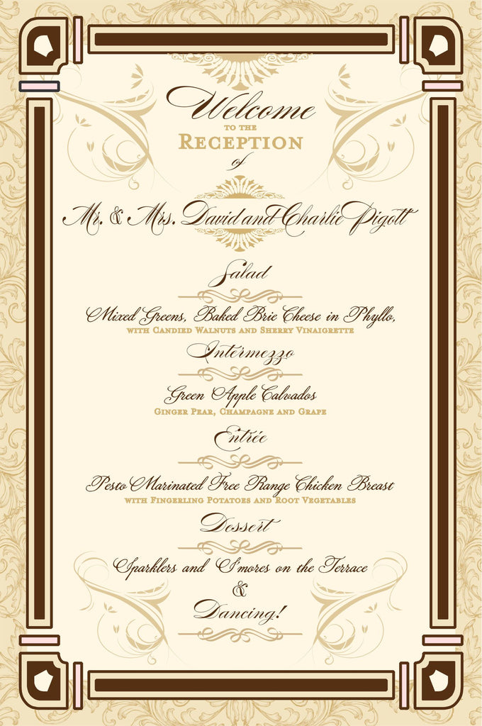 Menu Wedding Menu For Old Hollywood Theme Great Gatsby Old