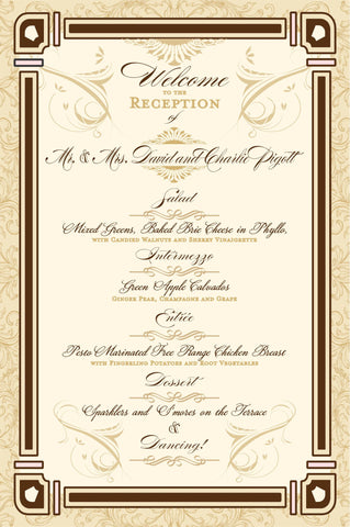 Menu - Wedding Menu for Old Hollywood Theme - Great Gatsby - Old Hollywood Collection for Wedding Receptions and Bridal Luncheons - 10 Menus