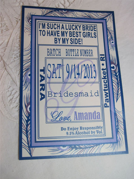 Bridesmaid Peacock Liquor Labels