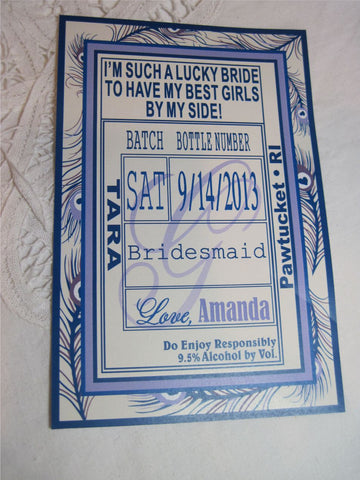 Bridesmaid Peacock Liquor Labels - I Do Artsy Weddings