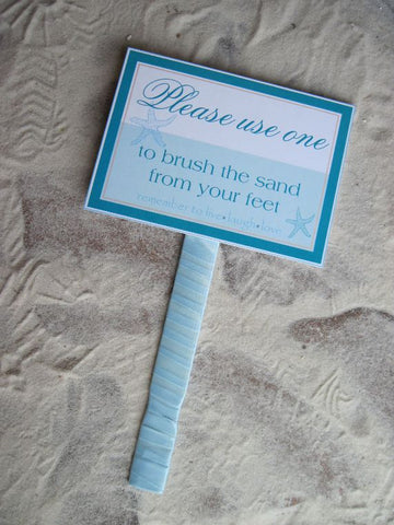 Beach Wedding Sand Brush Sign - Customizable