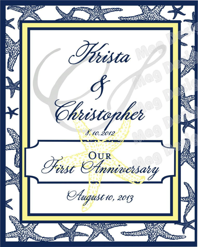 Wedding Anniversary Wine Label Firsts - First Anniversary - First ...