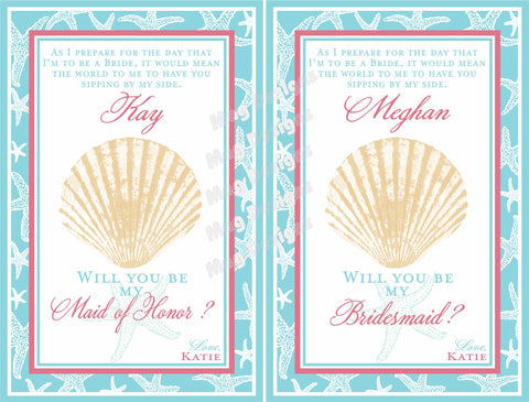 Starfish Bridesmaid and Maid of Honor Thank You Labels for Wine Bottles for your Wedding Party - Customized