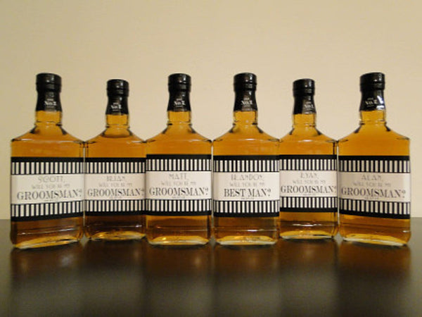 Grooms Labels - Liquor Labels - Personalized Groomsman and Best Man Beer & Liquor Label - Grooms Gifts - Striped Collection