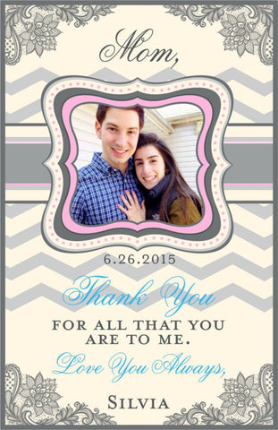 Thank You Wine Label for Mom - Chevron Collection - Customized