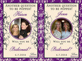 Bridesmaid Photo Wine Labels - Damask