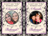Bridesmaid Photo Wine Labels - Damask - I Do Artsy Weddings