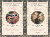 Photo Wine Labels - Damask Bridesmaid Labels