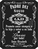 Father of the Groom Label or Bride in Spanish