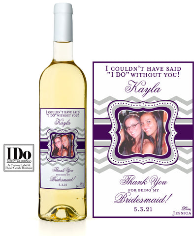 Bridal Party Gifts - Custom Photo Wine Labels - I Do Artsy Weddings