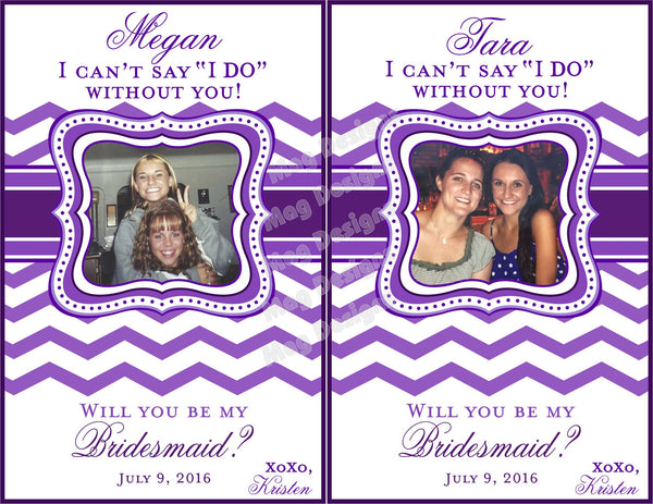 Bridesmaid Wine Labels - Maid of Honor Labels for Wine Bottles - Wedding Party Gifts - Chevron Collection - Customized