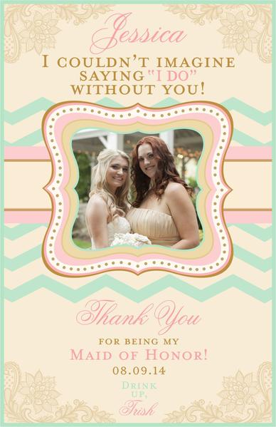 Bridesmaid Thank You Photo Wine Labels - Custom Maid of Honor Labels - I Do Artsy Weddings