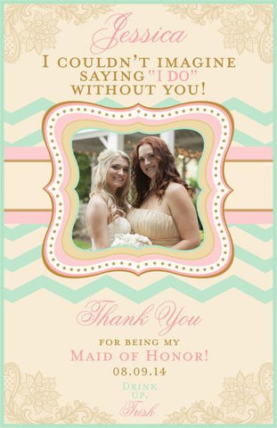 Bridesmaid Thank You Photo Wine Labels - Custom Maid of Honor Labels