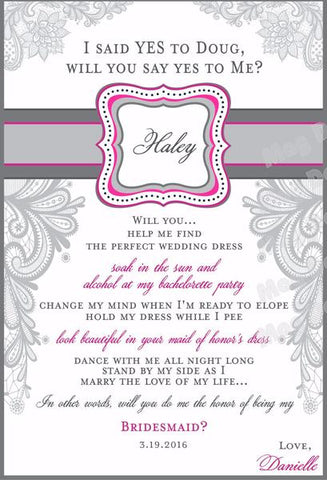 Lace Bridesmaid Wine Labels