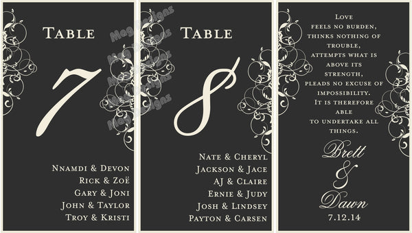 Menu Table Numbers - Elegant Wine Label Menu - Wine Label Table Numbers with Your Menu and Itinerary - Black & White Scroll Collection - I Do Artsy Weddings