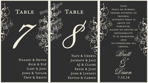 Menu Table Numbers - Elegant Wine Label Menu - Wine Label Table Numbers with Your Menu and Itinerary - Black & White Scroll Collection