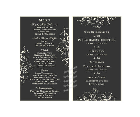 Menu Table Numbers - Elegant Wine Label Menu - Wine Label Table Numbers with Guest's Names and Itinerary - Black & White Scroll Collection - I Do Artsy Weddings