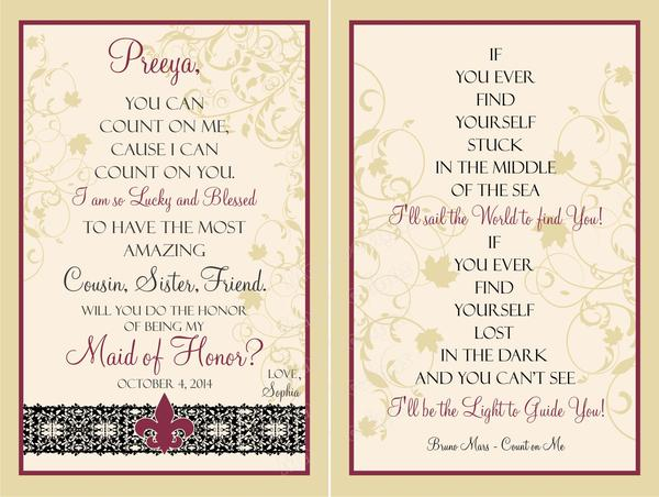 Bridesmaid Wine Label Set - Front & Back Label - Sister Wine Labels - I Do Artsy Weddings
