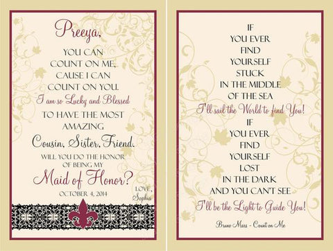 Bridesmaid Wine Label Set - Front & Back Label - Sister Wine Labels