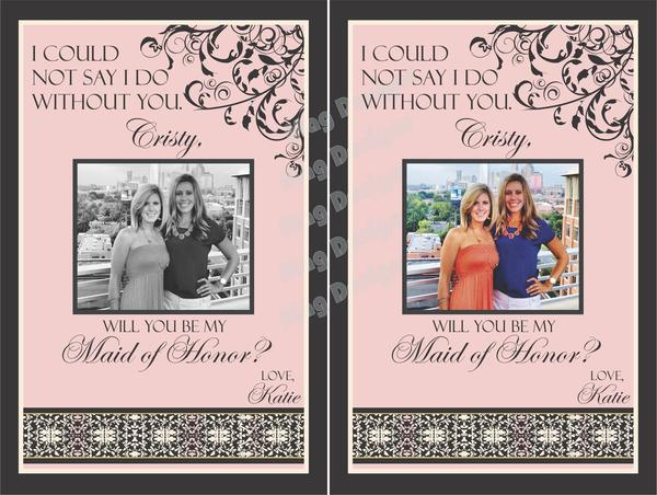 Wedding Party Gifts - Modern Swirl Collection - Pink & Gray - Customized