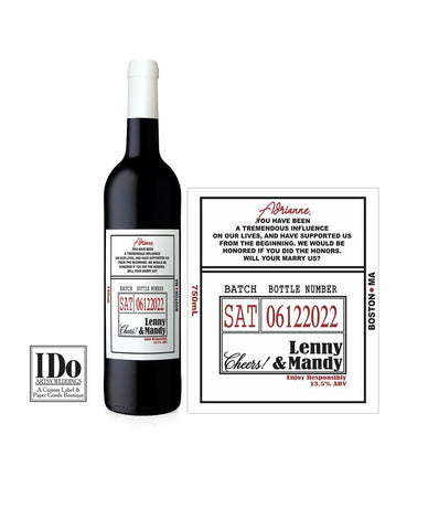 Officiant Wine Label - I Do Artsy Weddings