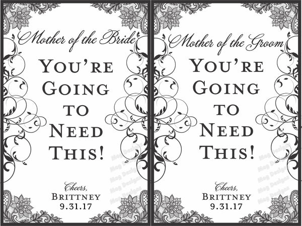 Mother of the Bride or Mother of the Groom Labels - I Do Artsy Weddings