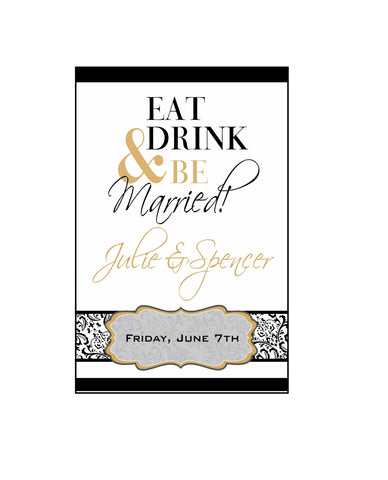 Rehearsal Dinner Wine Labels - Eat, Drink & Be Married - I Do Artsy Weddings