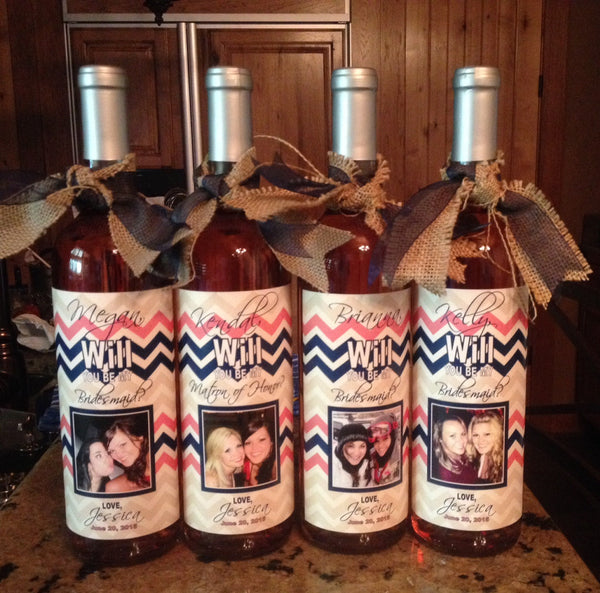 Will You Be My Bridesmaid Wine Label - I Do Artsy Weddings