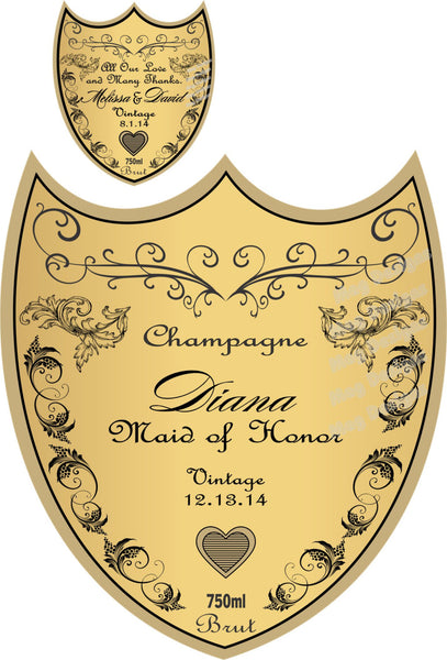 Personalized Bridesmaid Champagne Labels - I Do Artsy Weddings