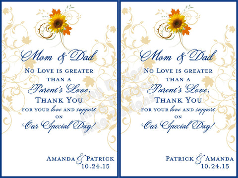 Parents of the Bride and Groom Wine Label