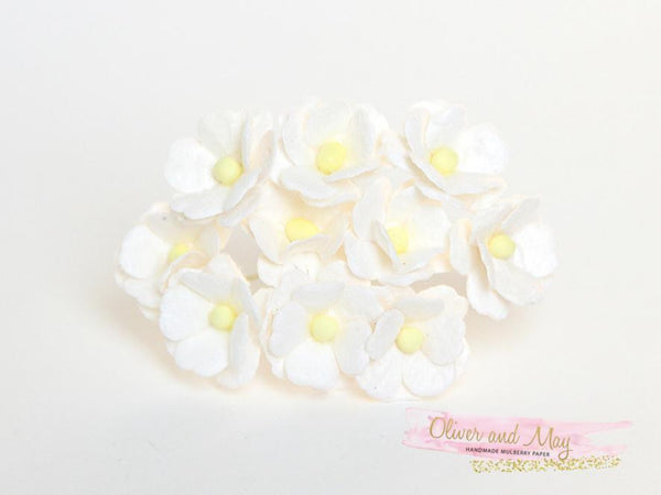 10 Pcs Mulberry Paper Flowers  1-2cm Cherry Blossoms - White