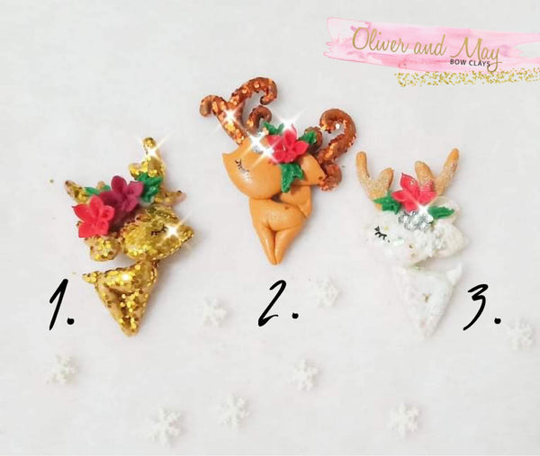 Festive Deers Clay Embellishment ~ Enchanted Maker 🎄Christmas 🎄Collection