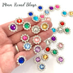 14mm Round Rhinestone Flatback Embellishments - Lots of 5