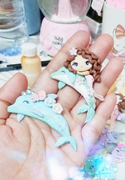 Mermaid and Dolphin Bow Clay Embellishments in Pink and Mint