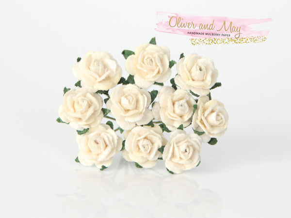 10 Pcs Mulberry Paper Flowers - 1cm Mini Tea Roses - Cream