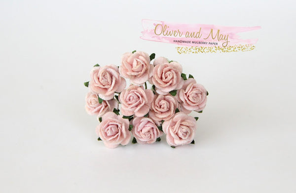 10 Pcs Mulberry Paper Flowers - 1cm Mini Tea Roses - Soft Peachy Pink