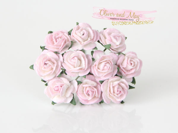 10 Pcs Mulberry Paper Flowers - 1cm Mini Tea Roses - Soft Pink and White