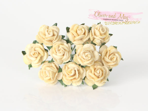 10 Pcs Mulberry Paper Flowers - 1cm Mini Tea Roses - Soft Yellow
