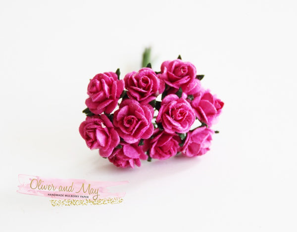 10 Pcs Mulberry Paper Flowers - 1cm Mini Tea Roses - Hot Pink