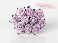 10 Pcs Mulberry Paper Flowers - 1cm Mini Tea Roses - Soft Lilac