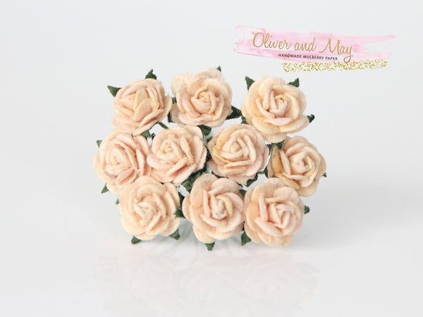 10 Pcs Mulberry Paper Flowers - 1cm Mini Tea Roses - Soft Peach