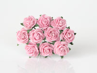 10 Pcs Mulberry Paper Flowers - 1cm Mini Tea Roses - Pink