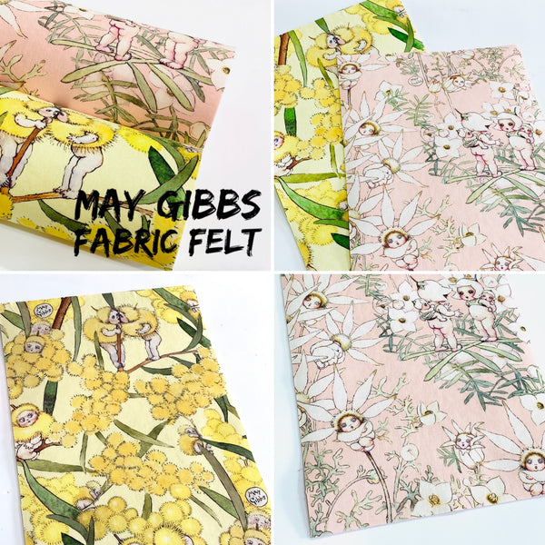 May Gibbs Snugglepot and Cuddlepie Fabric Felt -  Backed in Merino Pure Wool Felt